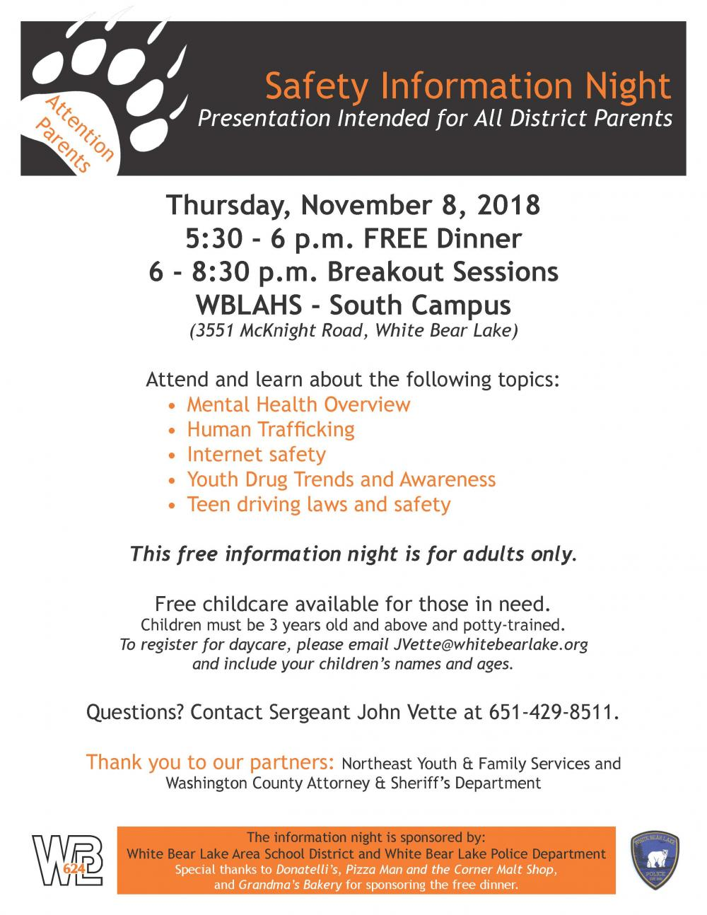Image Of The Flyer For Safety Information Night